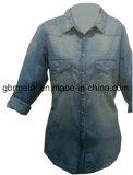 Рубашка 100% втулки джинсовой ткани хлопка повелительниц длинняя Wh1012