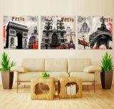 Die 3 Panel-Wand-Kunst-Ölgemälde-Paris-Farbanstrich-Ausgangsdekoration-Segeltuch druckt Abbildungen für Wohnzimmer gestaltete Kunst Mc-261