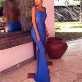 Longue robe d'usager sexy de robe de cocktail robe bleue de robe de longue