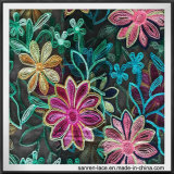 Красочными цветочными вышивкой ткань - сетка с вышитым кружевом