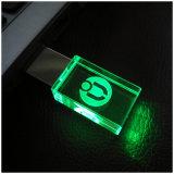 Customerized 로고 LED 빛을%s 가진 수정같은 투명한 USB 섬광 드라이브 8GB 16GB 32GB 64GB USB USB 섬광 드라이브