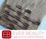 人間の毛髪の拡張のRemyインドのクリップ