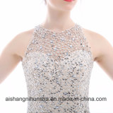 Элегантные вечерние платья A-Line рукава рельефная кристаллов Группа Gowns