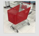 Nice Quality 180L Handle Wheels Plastic Shopping Cart e Baby Seats, Embalagem Use Air Bubble Film (YD-T6)