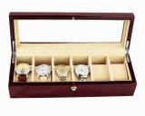 Acabado mate marrón de palo de rosa reloj de madera de embalaje almacenamiento Mostrar caja de regalo