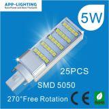 5W 2 pinos luz Pl G24/G23/E27 com base na opção