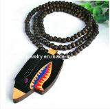 El verano de Buenos accesorios Bisutería Abalorios de madera negra colorido Collar Colgante de madera (PN-133)