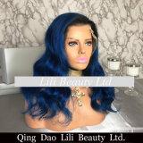 La peluca caliente del frente del cordón de la venta labra la peluca del pelo humano del azul de marina para las mujeres negras