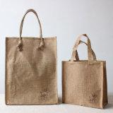 Eco laminou a juta feita sob encomenda do saco de compra da juta do logotipo carreg o saco