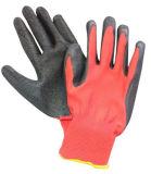 Guanti rivestiti del poliestere dei guanti del lattice rosso della piega che costruiscono guanto di funzionamento
