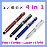 4 in 1 Touch Pen Stylus Laser Pointer Flashlight Ball Point Pen (Pen-02)