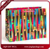 2017 bolsas de papel promocionales de las compras del regalo del portador con la cinta del Hangtag y del satén