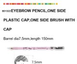 Lápiz cosmético de madera para la ceja con el casquillo plástico del cepillo