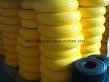 Rodas amarelas do plutônio do Wheelbarrow 3.50-8 resistentes com borda do metal