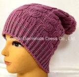 冬のポンポン(Hjb039)が付いている編む帽子ケーブルの帽子の肋骨の編む帽子