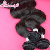 extensão 100% brasileira não processada do cabelo humano do Virgin do cabelo de Remy da onda do corpo 9A