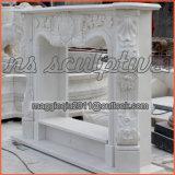Mensola del camino francese Mf1708 di bordi di marmo bianchi decorati del camino