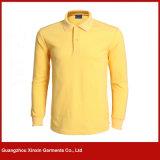 100%년 면 주문 자수 로고 평야 공백 까만과 회색 색깔 조합 긴 소매 폴로 셔츠 (P163)