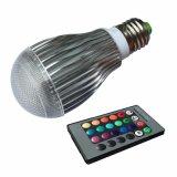 lámpara teledirigida del bulbo del IR LED RGB de la iluminación de 10W RGB