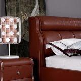 Rote lederne Sofa-Bett-Ausgangshotel-Möbel-Wohnzimmer-Schlafzimmer-Set-moderne Möbel, Fb3080