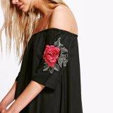 Form-Frauen-beiläufiges loses reizvolles Blumen-Stickerei-Partei-Gefäß-Kleid
