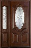 Porta rústica da entrada da madeira contínua da casa com Windonw (GSP1-033)