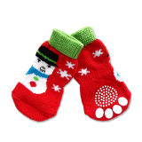 Accessoires de chien de Noël Shampooing en coton tricot antidérapant chaussettes pour animaux de compagnie