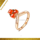 De recentste Gouden Ring van de Juwelen 18K/14K/9K van de Manier van het Ontwerp met de Ring van het Zirkoon van de Ring van het Ontwerp van de Halfedelsteen voor Vrouwen