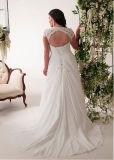 Chiffon- Brautkleider plus Größen-Strand-Hochzeits-Abend-Kleid Bt292