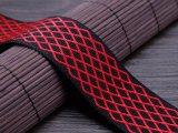 Heißer Riemen-schwarzes und rotes Gitter-Nylon-Polyester-Jacquardwebstuhl-Beutel-Brücke-gewebtes Material