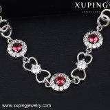 74346 Jóias de moda Charm Colorful Stones Bracelete em pele de Rhodium Plated Women CZ