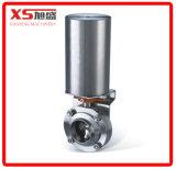 Válvula de borboleta de Triclamp do atuador pneumático de aço inoxidável Ss304 (ar a Apring)