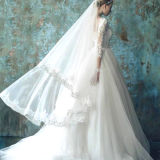 A - linha vestido de casamento cheio de Tulle do barco das luvas