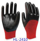 Gant rouge de doublure de polyester avec des nitriles noirs à moitié enduits, finissage sans heurt
