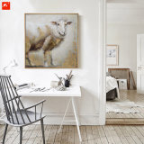 Deux nouveaux morceaux Tableau-mur chiot de moutons et de vache Peinture d'huile