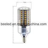 La luz E12 15W del maíz del LED calienta la lámpara de plata blanca del bulbo de la carrocería LED del color