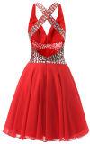 Garganta elegante do vermelho O uma linha vestidos de noite Sleeveless Chiffon com perolização do vestido de noite curto do comprimento