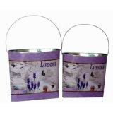 lavender 화분에 의하여 타원형 주석 벽 화원 남비