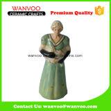 Mulher em Figurino de cerâmica de vestido longo para decoração Ornamento para casa