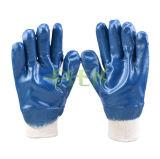 Голубой нитрил окунул перчатку промышленной работы безопасности перчаток в Китае