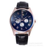 Tevise Mens 시계 가죽 사업은 자동적인 기계적인 사람 해골 시계 우연한 방수 손목 시계가 시계에 상표를 붙일 것을 본다