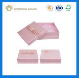 Cadre de papier de plein de couleur cadeau rose de Handmaded (avec le plateau de tissu de satin)