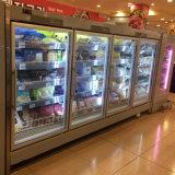 4 Glass puerta del congelador de la bebida Congelador Vertical