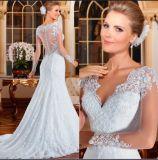 Luxury Mermaid Trumpt mangas longas transparente padrão Lace vestido de casamento