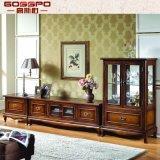 Armário de TV de madeira sólida moderno com Showcase lateral (GSP13-001)
