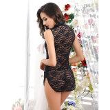 Rosa / Negro con Sexy Cheongsam Botones Mujer Lace Pijamas
