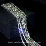Encadenamiento de cobre amarillo cristalino de cadena de la taza de Strass del Peridot de Ss8 2.5m m (plata TCS-SS8)
