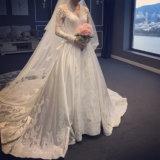중국 디자인 에이라인 공단 아플리케 가득 차있는 레이스는 결혼식 신부 복장을 소매를 단다