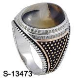 925 Anéis de Prata Micro definindo os homens com pedra de toque