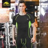 Camicia di sport asciutta rapida di compressione degli uomini con Mesn